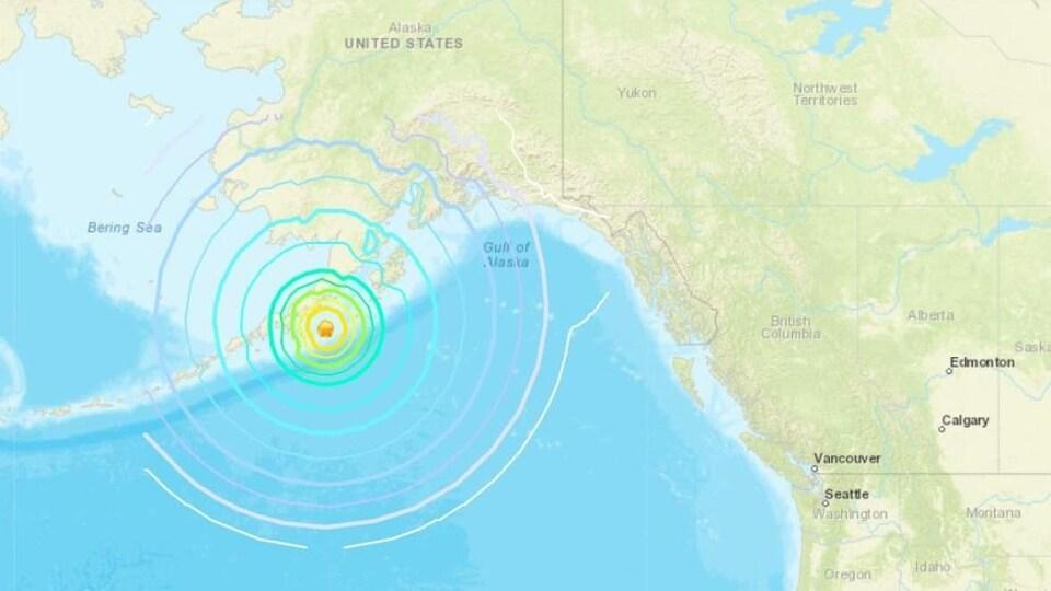 Une carte avec des cercles concentriques montrant la portée du séisme.