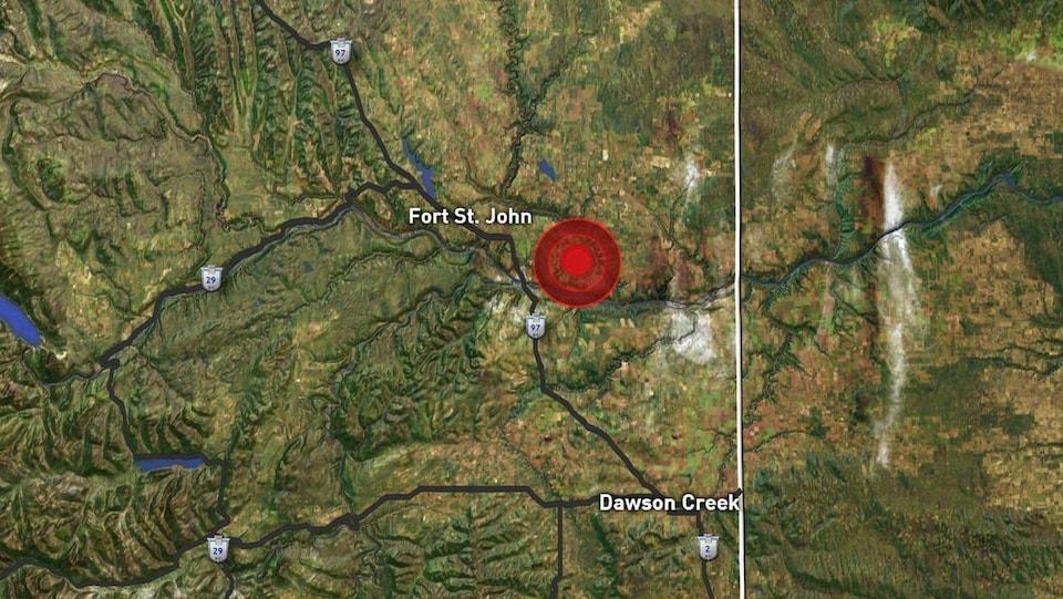 Un gros point indique l'emplacement de l'épicentre du séisme près de Fort St. John.
