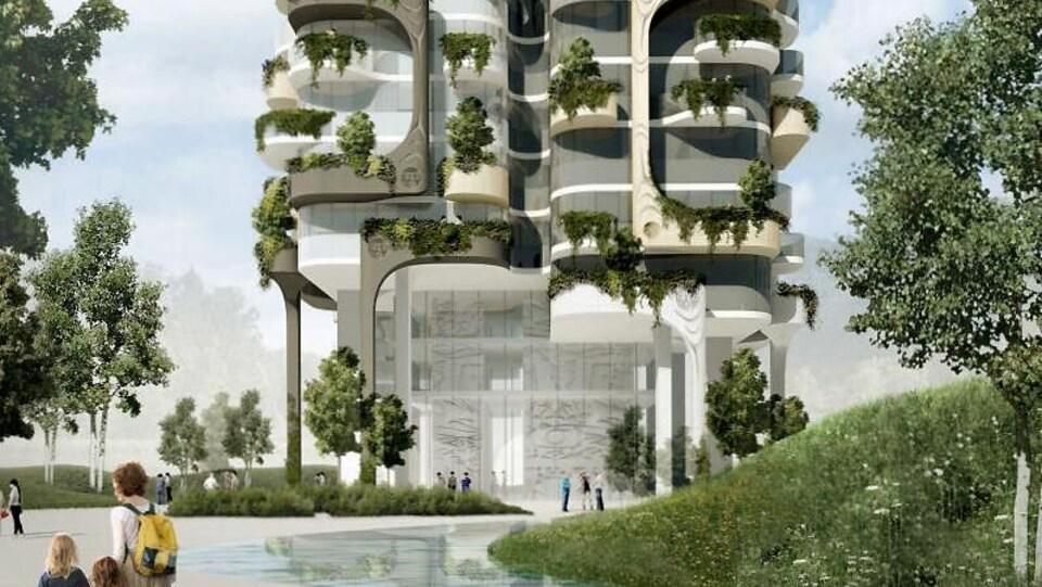 Un plan d'une des tours de logements.