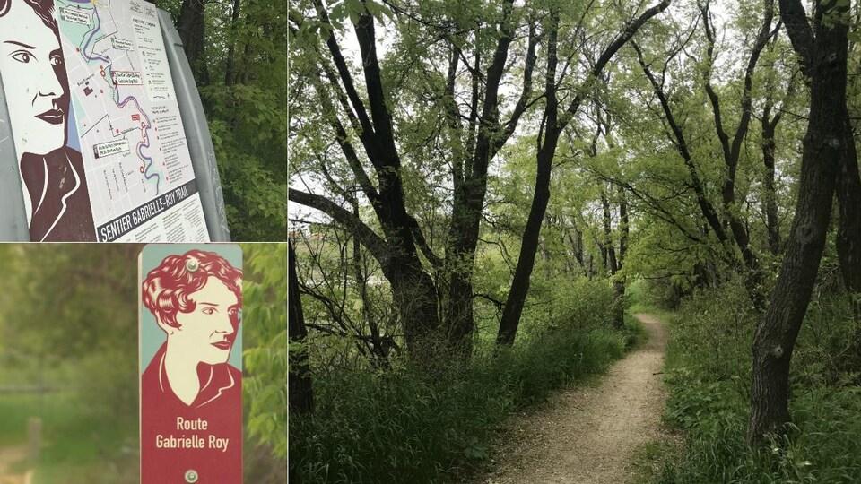 Un montage de trois photos : à gauche, deux pancartes qui annoncent le sentier et la route Gabrielle-Roy, et à gauche, un sentier boisé.