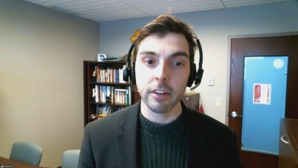 Simon Ouellette, par webcam, le 16 mars 2021.