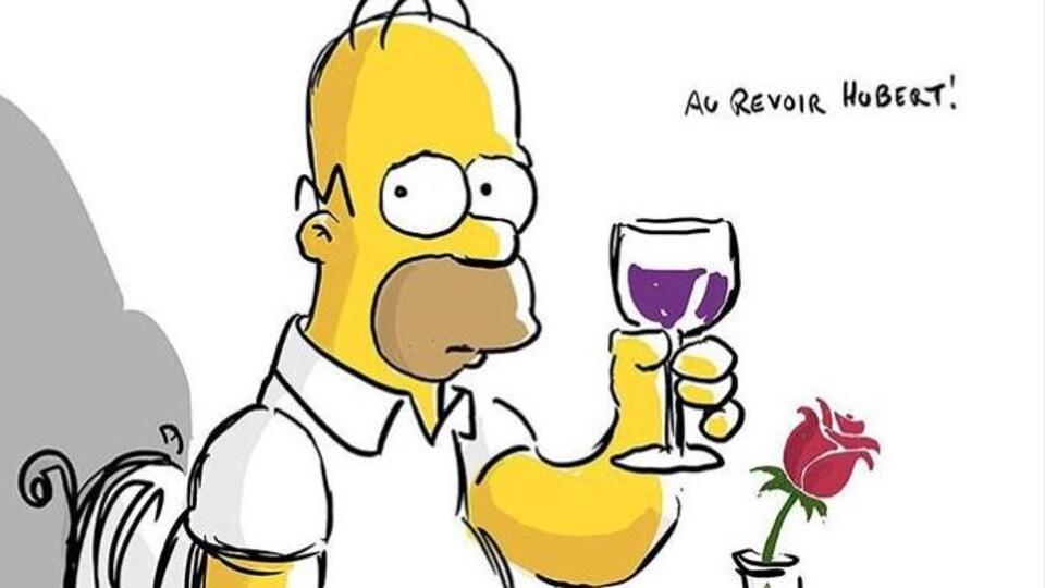 Homer Simpson a l'air triste et tient un verre dans sa main.