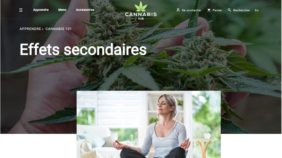 Capture d'écran du site cannabis-nb.com le 17 octobre 2018.