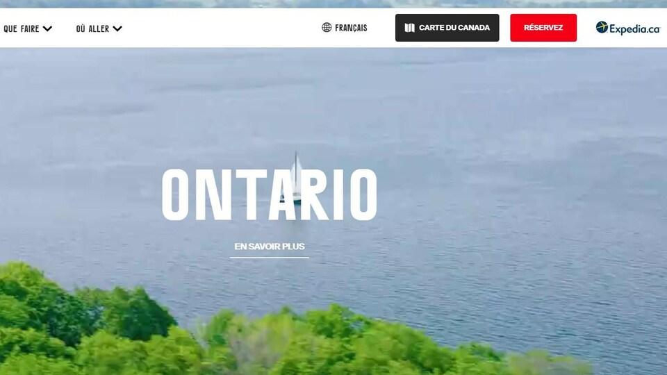 Interface du site faisant la promotion de l'Ontario.