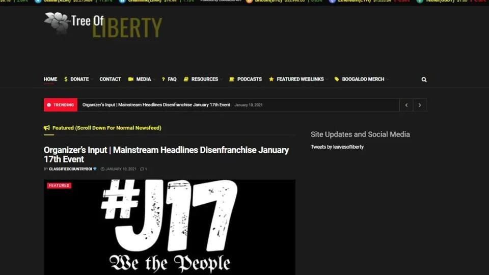 Le site web Tree of Liberty.