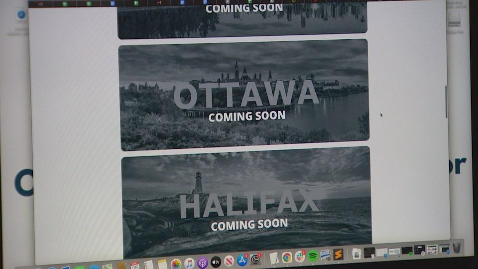 Un site web sur lequel on peut lire Ottawa et Halifax.
