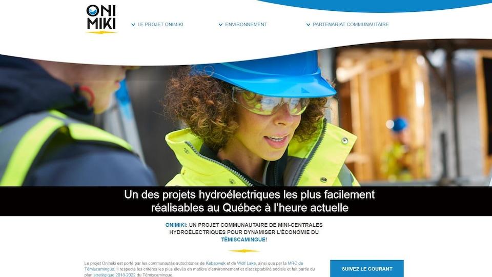 L'interface du site web d'ONIMIKI.