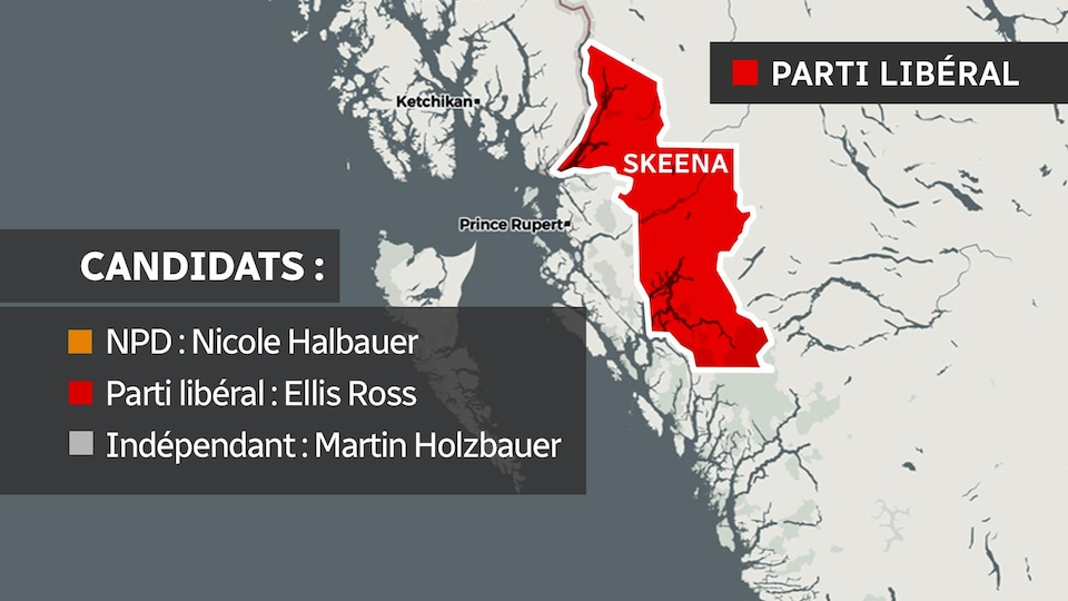 Une carte de la circonscription de Skeena.