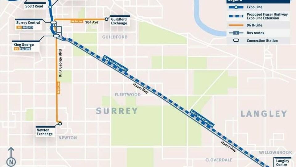 Une carte montrant la route que suivra la nouvelle ligne de métro entre Surrey et Langley.