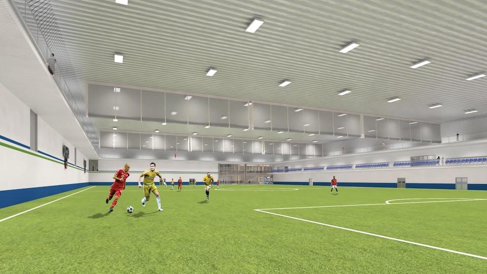 Une esquisse d'un stade de soccer.