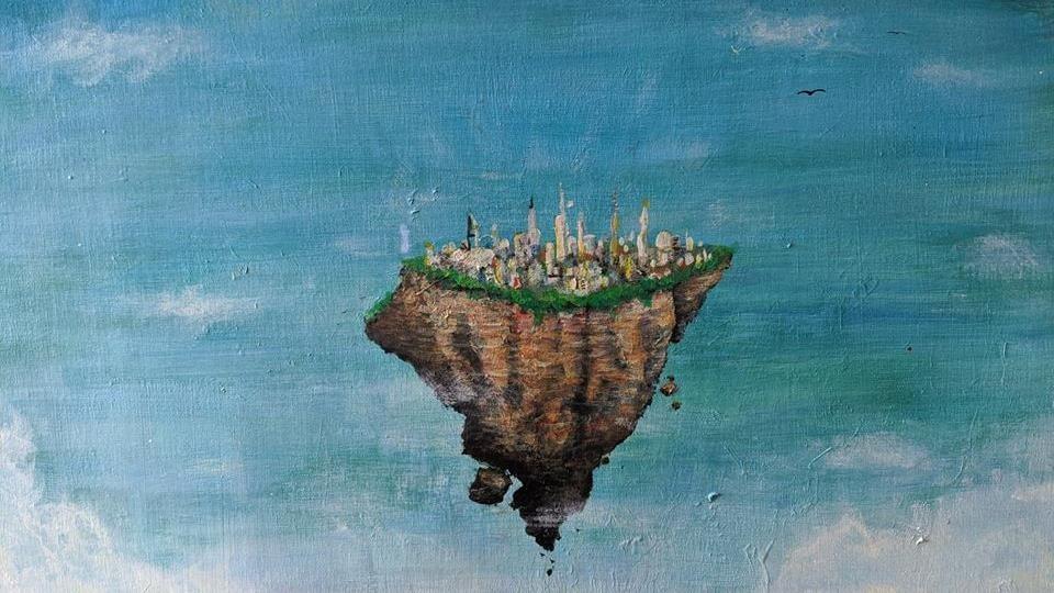 Reproduction d'une oeuvre artistique peinte représentant un morceau de continent flottant dans le ciel, et portant des immeubles.