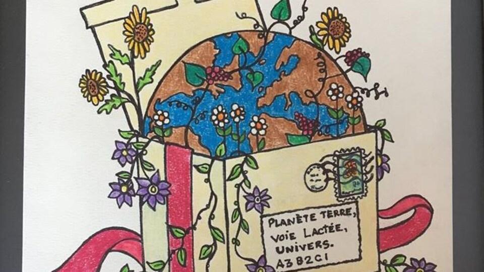 Reproduction d'une oeuvre représentant une boîte cadeau renfermant à moitié la planète terre et des fleurs.