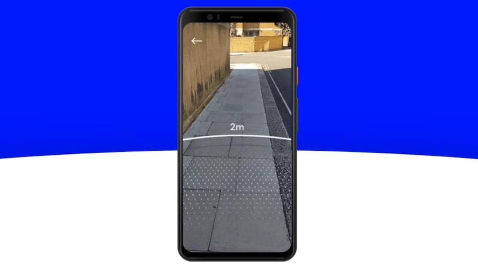 Un téléphone qui affiche un rayon de 2 mètres sur l'image issue de sa caméra.
