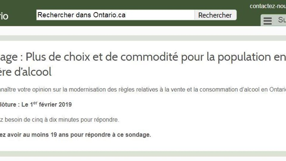 une photo d'une page web intitulée «Sondage : Plus de choix et de commodité pour la population en matière d'alcool