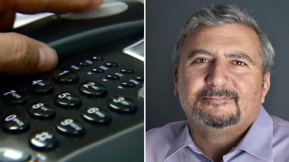 A la gauche de l'image: un clavier téléphonique; à la droite: Quito Maggi, PDG de Mainstreet Research.