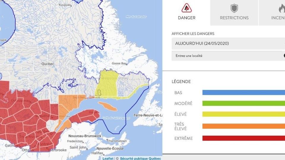 une carte indique l'indice d'inflammabilité dans chaque région du Québec.