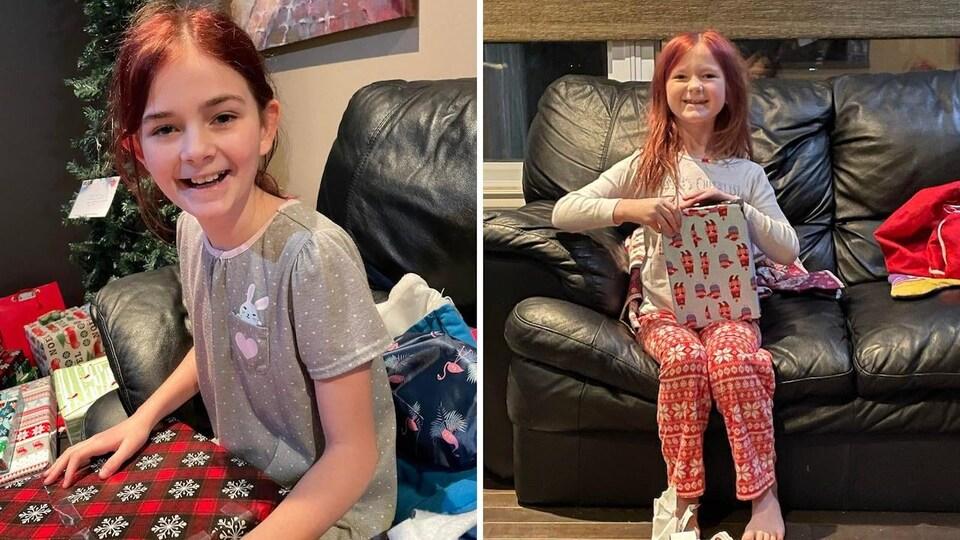 Montage de deux photos de deux jeunes filles qui ouvre des cadeaux de Noël.