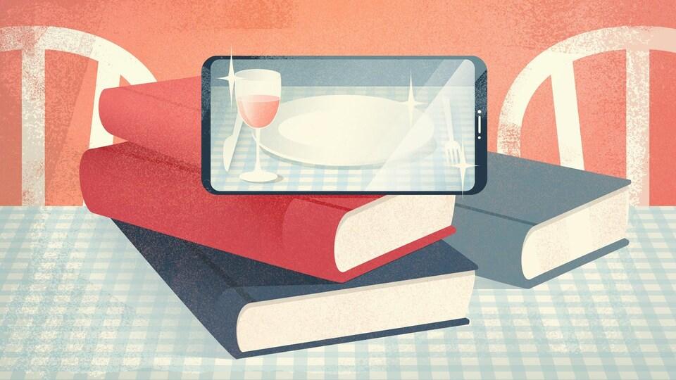 Illustration d'un téléphone intelligent appuyé sur quelques livres, sur une table de cuisine.