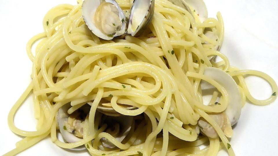 Spaghetti dans une assiette blanche