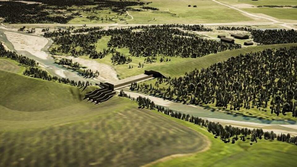 Un dessin du projet de réservoir Springbank.