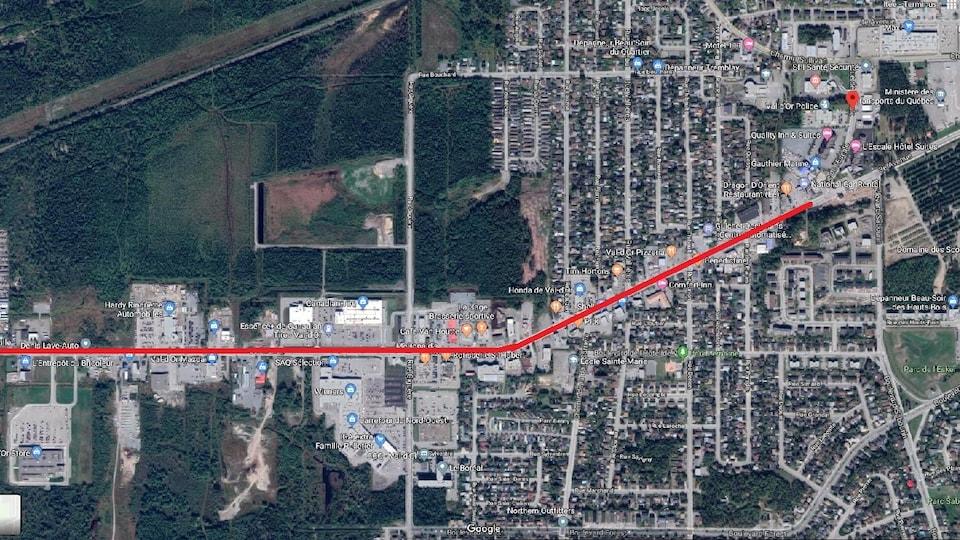Carte de Val d'Or avec la 2e avenue surligée en rouge.