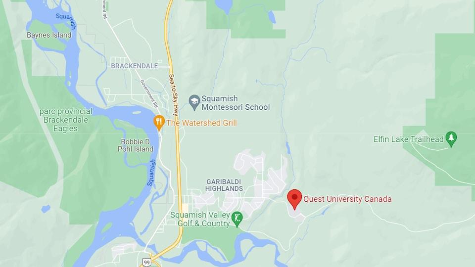 Carte de Squamish montrant l'Université Quest et le quartier Garibaldi Highands.