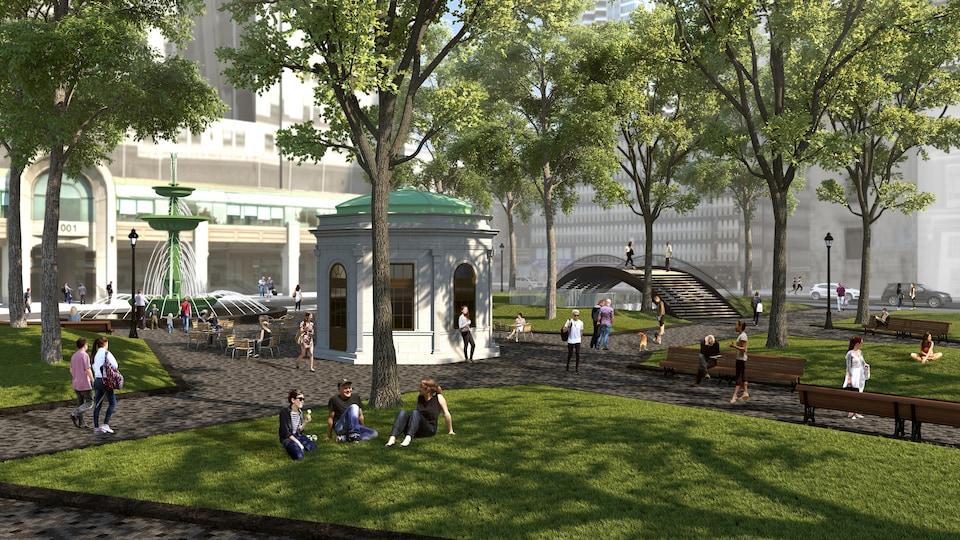 Le future square Dorchester, tel qu'imaginé par l'administration Plante
