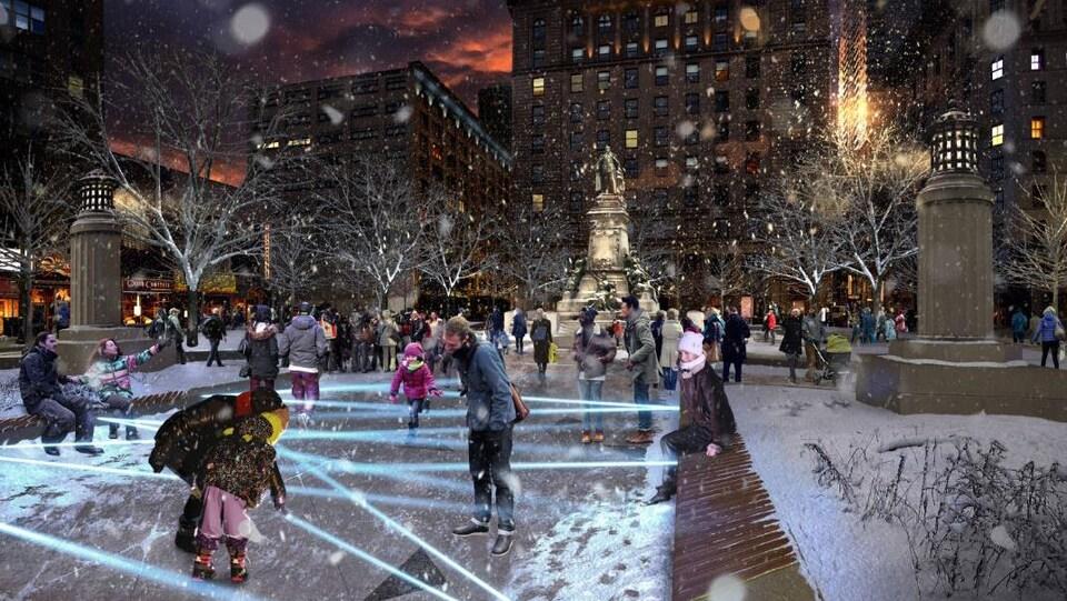 Dessin représentant des faisceaux lumineux qui se croisent dans le square Phillips en hiver.