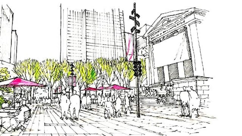 Un dessin illustrant la nouvelle place Robson avec des arbres, des tables recouvertes de parasols et des passants.