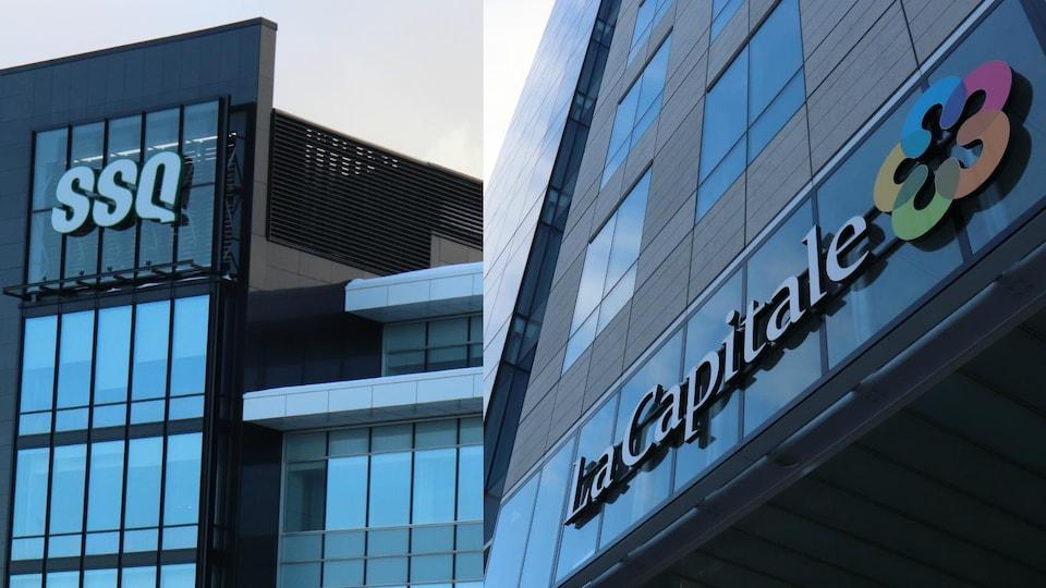 Les logos des deux groupes sur des immeubles.
