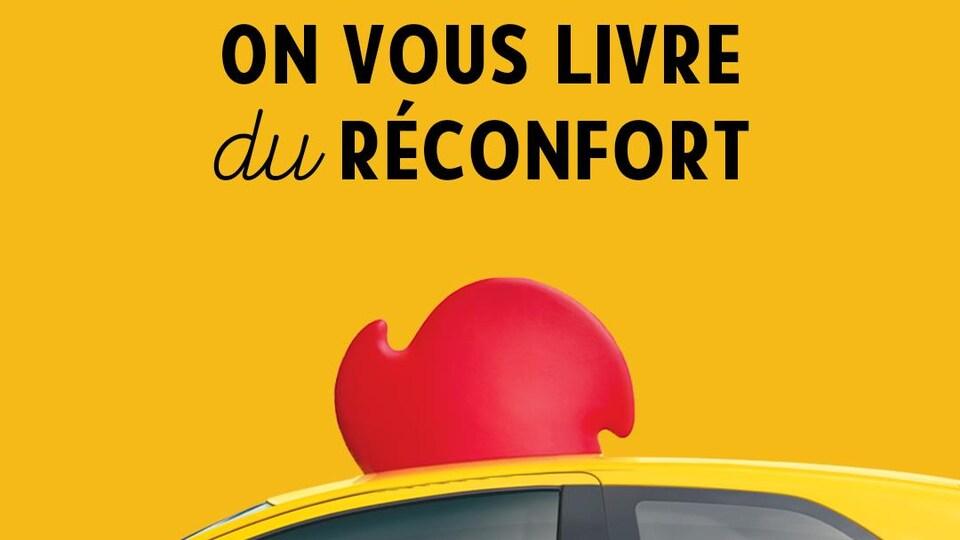Le slogan « On vous livre du réconfort » coiffe un véhicule de livraison orné d'une crête de coq.
