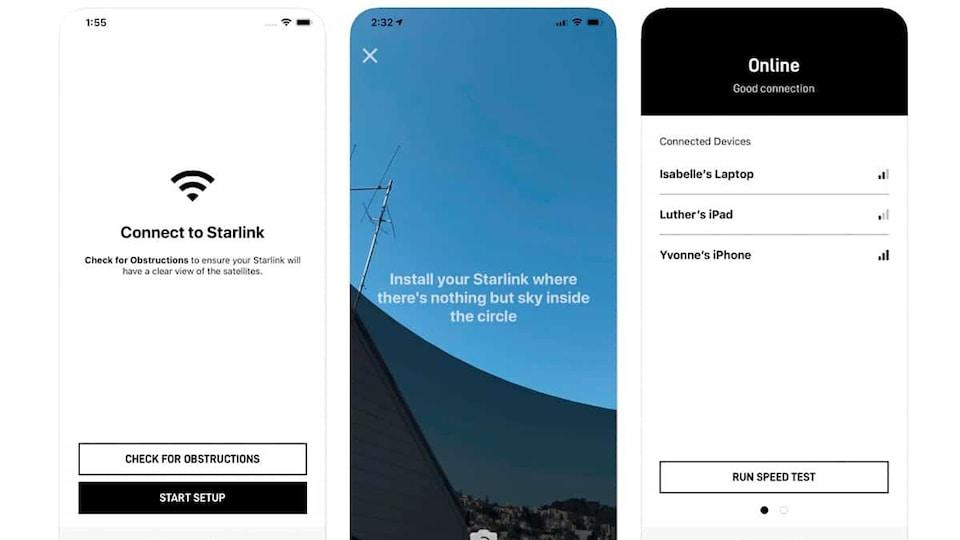 Trois écrans de cellulaire montrant un aperçu de différentes pages de l'application Starlink.