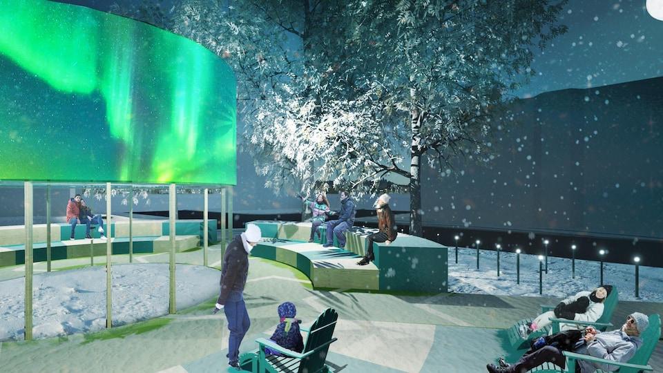 Des gens sont assis dans des chaises longues ou sur des bancs. Une représentation illuminée d'une aurore boréale semble flotter dans les airs.