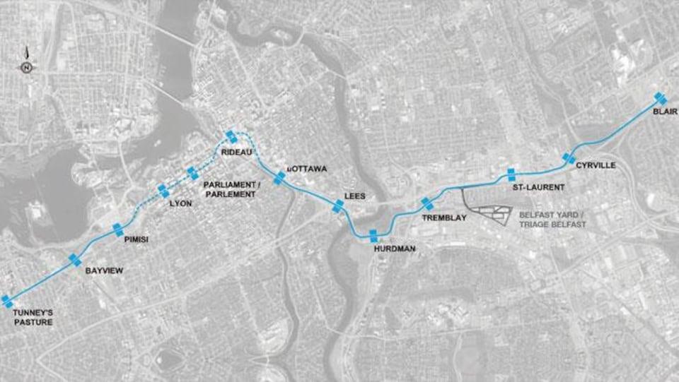 Carte du tracé des 13 premières stations du système de train léger sur rail d'Ottawa.