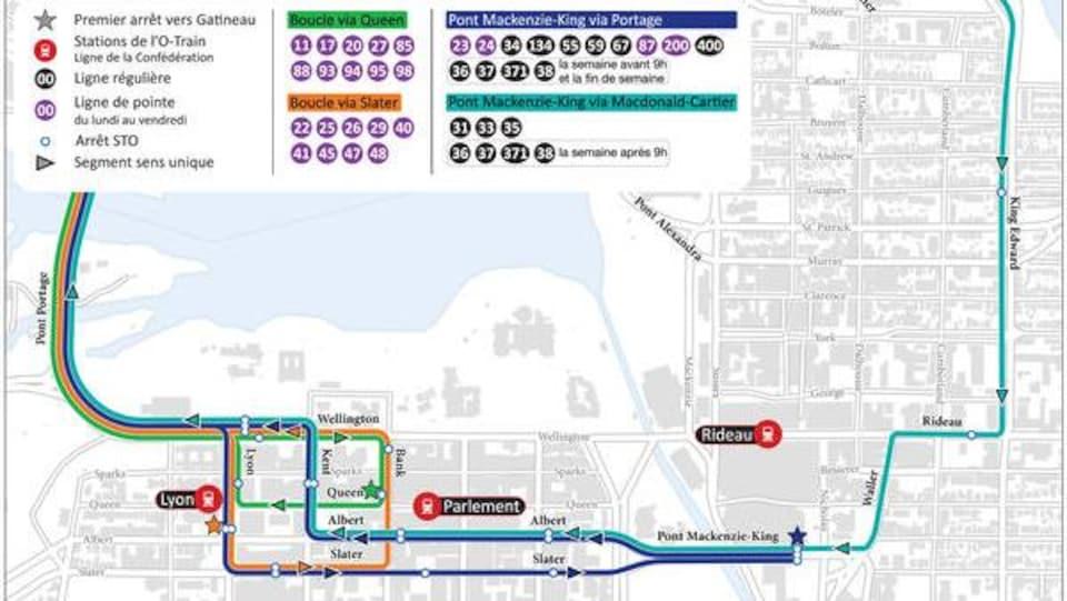 Une carte du centre-ville d'Ottawa montrant les nouveaux arrêts de la STO, avec une légende.