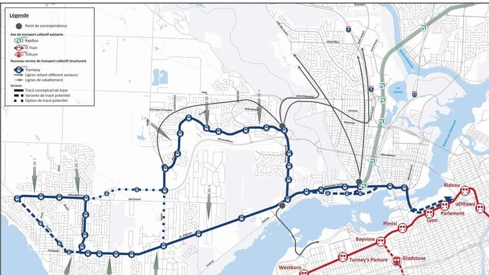 Carte qui montre les deux axes du nouveau système de transport de Gatineau.