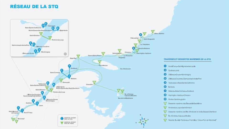 Une carte présentant le réseau de traverses et de dessertes maritimes de la Société des traversiers du Québec.