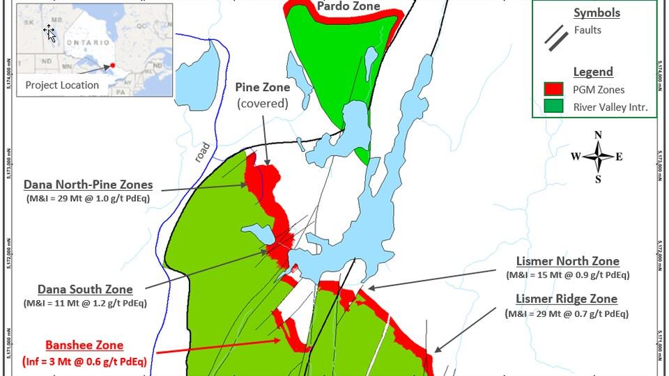 Carte du site de New Age Metals à River Valley.