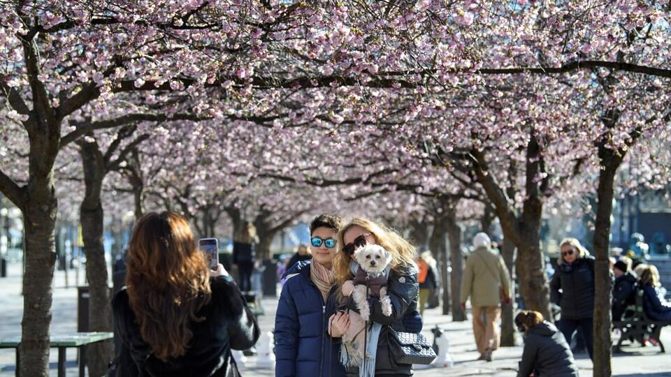 Des Suédois profitent du retour du printemps au parc Kungstradgarden, à Stockholm.
