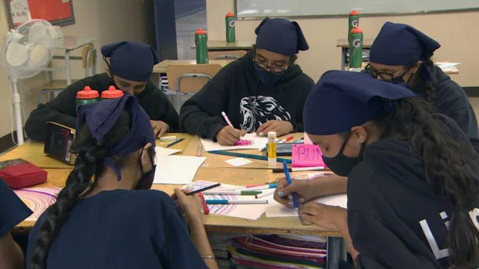 Un groupe d'élève travaillant sur des œuvres d'art.