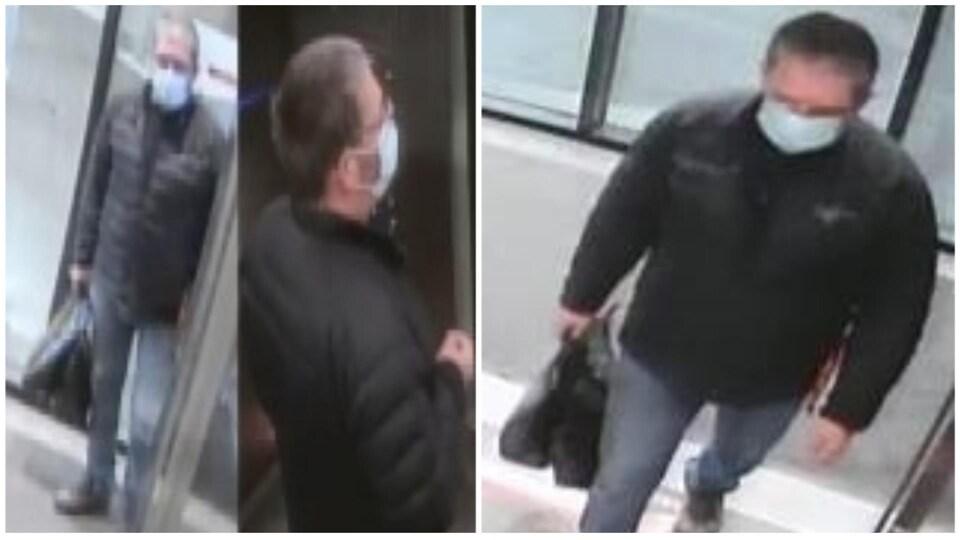 Trois photos du suspect prises par des caméras de surveillance.