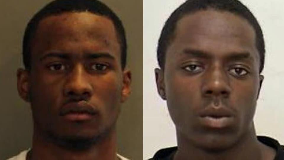Photo en mosaïque de deux hommes noirs.