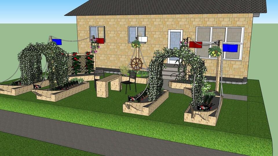 Maquette d'une maison avec un jardin dans la cour avant.