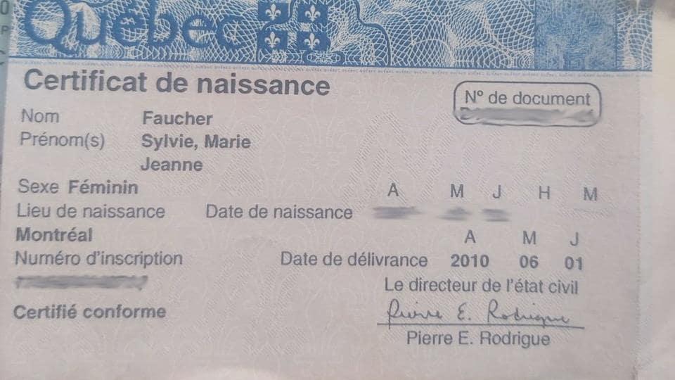 Le certificat de naissance du Québec de Mme Sylvie Faucher