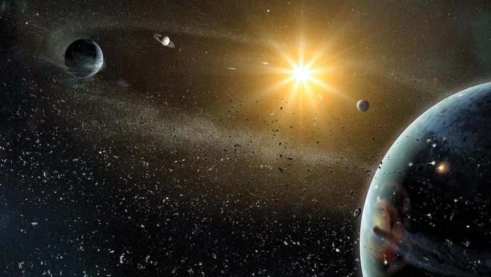 Représentation artistique de la formation du système solaire.