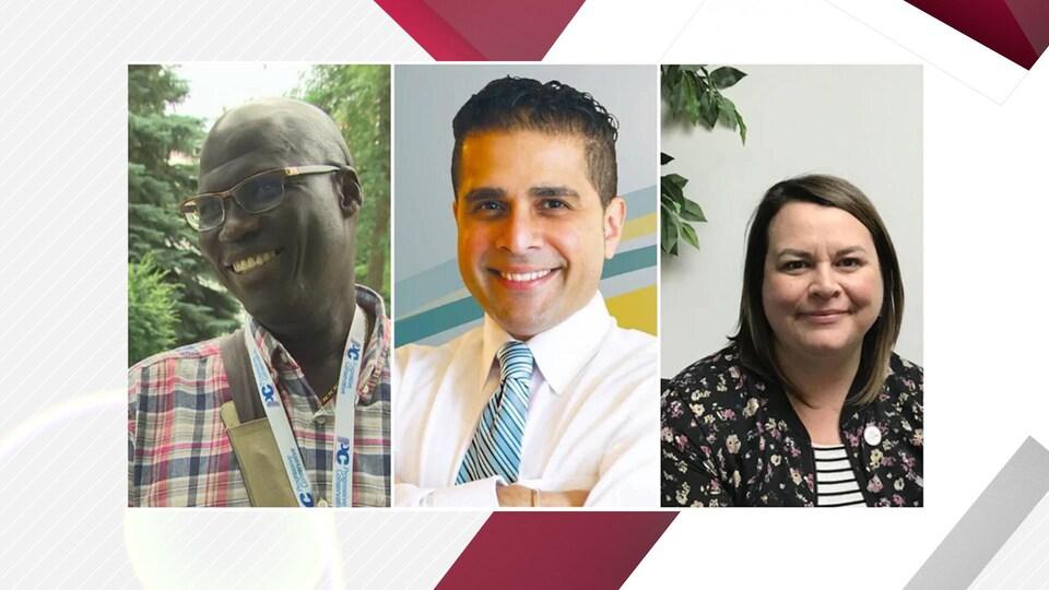 Photos de trois anciens candidats issus de minorités.