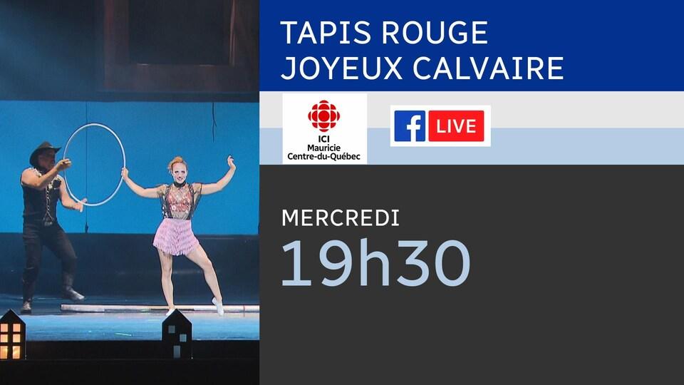 Tableau qui dit que nous serons en direct par facebook live dès 19h30, ce mercredi.