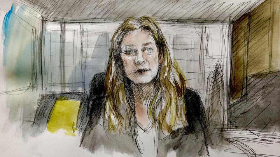 Une illustration de la procureure de la Couronne, Jill Witkin, à son bureau.