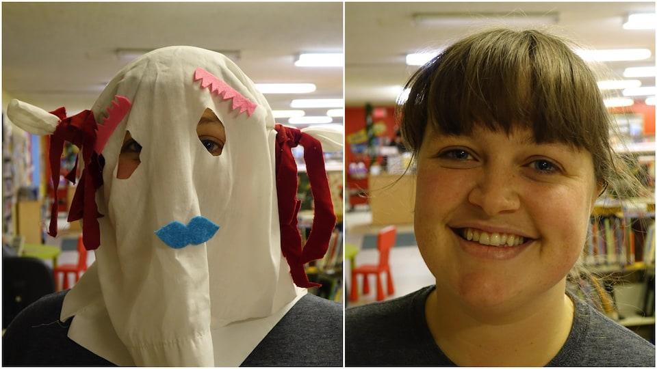 Tara Barrett porte un masque de mummer.
