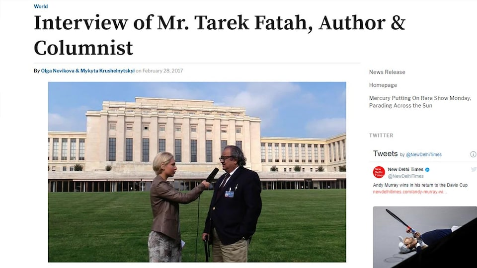 La journaliste et M. Fatah sont devant le Palais des nations, à Genève.